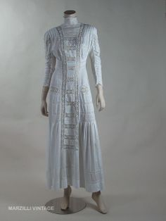 Crisp White Mixed Lace Edwardian Tea Dress