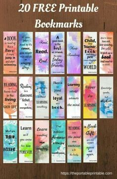 21 Ideas For Craft Quotes Hobbies 21 Ideen für Bastelzitate Hobbys Bookmarks Quotes, Paper Bookmarks, Watercolor Bookmarks, Bookmarks Kids, Watercolor Quote, Kids Watercolor, Free Printable Bookmarks, Free Printables, Printable Book Marks