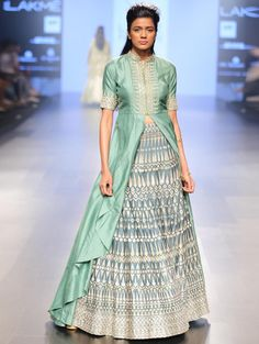 Mint Lehenga from SVA Couture. Sonam and Paras Modi bring their A-game with the Mahal En Maroc 2016 Collection.   Pure silks and chanderis have been used to give a rich look.  #elegant #lehenga #indianbride #mintlehenga #indianfashion #fashion #bridal #wedding #mint #decadent #ethereal