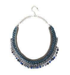 Collier tressé femme - Bleu - Bijoux - Femme - Promod 16.95€
