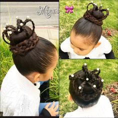 Crown hair style for little girls Kid Hairstyles, Little Girl Hairstyles, Short Curly Hair, Short Hair Styles, Braided Buns, Hair Tutorials, Holiday Outfits, Hair Dos, Hair Type