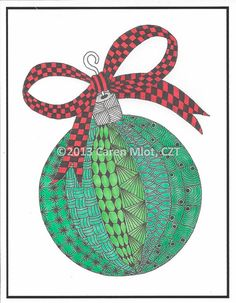 Zentangle Christmas Cards - 5 x 7 inch glossy cards - set of 4 cards
