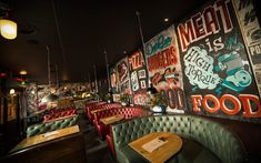 DATBAR bar restaurant by Dirty Hands, Newcastle UK hotels and restaurants Deco Restaurant, Restaurant Concept, Restaurant Design, Graffiti Restaurant, Farmhouse Restaurant, Pub Design, Design Blog, Retail Design, Bistro Bar