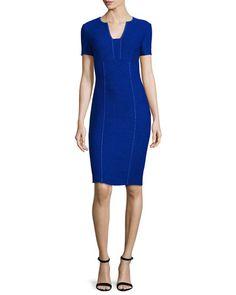 B38F5 St. John Collection Newport Pickstitch Short-Sleeve Dress, Indigo/Bianco
