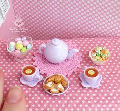 Tea set miniature food for Dollhouse and dolls. Miniature