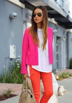 bright orange skinny jeans + neon pink blazer