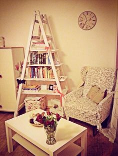 vintage ladder bookshelf DIY @Terry Santora