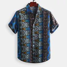 Fashion 2019 New Men's Camisa Masculina High Quality Men's Cotton Printed Hawaiian Breathable Casual Short Sleeve Loose Shirts Chemise Fashion, Men's Fashion, Fashion Outfits, Fashion Shirts, Fashion Online, Loose Shirts, Henley Shirts, Men's Shirts, Mens Shirts Online