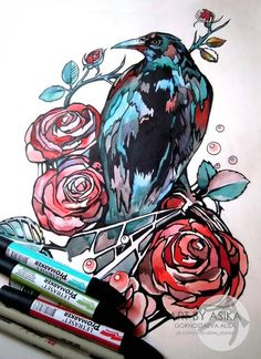 Crow, raven. Watercolor.   Tattoo flash. Tattoo sketch.  by Gornostaeva Alisa. Art by Asika. Эскиз тату. Горностаева  Love this!♡♡♡