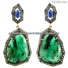 Yellow And Blue Sapphire Emerald Gemstone Earrings 925 Silver Gold Diamond Jewelry In India - Buy Natural Emerald Diamond Gold Earring,14k Gold Jewelry Earrings,Silver Jewelry Earrings Product on Alibaba.com