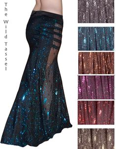 Belly Dance Trumpet Skirt YOUR SIZE: Sequins & Glitter Mermaid Skirt - Raqs Sharqi - Tribal Fusion - Gothic Bellydance on Etsy, $180.00