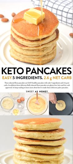 2 eggs cup water and heavy cream with vanilla cup extra virgin coconut oil melted 1 cup blanched almond flour teaspoon baking soda add banana extract keto pancakes Almond flour pancakes Healthy gluten free recipe - Sweetashoney Almond Pancakes, No Flour Pancakes, Low Carb Pancakes, Pancakes Easy, Low Carb Breakfast, Breakfast Recipes, Breakfast Ideas, Waffles, Fluffy Pancakes
