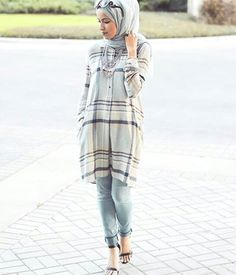 shirt dress with hijab- Trendy hijab outfits http://www.justtrendygirls.com/trendy-hijab-outfits/