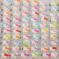 100Pcs/ Free wholesale lots Candy resizable baby child's gifts ring lovely cute hello kitty rings fashion jewelry jewellery X39-in Rings from Jewelry on Aliexpress.com