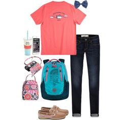 Pretty sure my school was the only school who went today#OOTD by agirlyprepster on Polyvore featuring Abercrombie & Fitch, Sperry Top-Sider, Vera Bradley, Forever 21, Kate Spade, The North Face and BMW