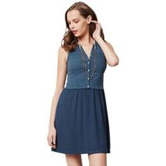 Anthropologie Dress Beautiful navy blue button-down Anthropologie dress with pockets. Anthropologie Dresses