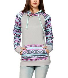 Bluetime Women's Geometric Print Patchwork Hoodies Pullover Sweatershirt Grey Small