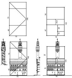 The Fibonacci sequence and the following Lucas sequence give pairs of numbers that describe Fibonacci rectangles. Comparing the elevation of Palazzo della Signoria with that of Palazzo Strozzi, built two centuries later, it is possible to understand how important the use of the sequences became in Florentine architecture.