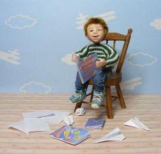 Miniature Boy Dollhouse Boy SET OOAK Handmade Artist Art Doll 1:12