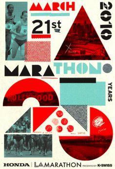 Flyer Goodness: 2010 LA Marathon Poster - Designed by Cleon Petersen of Studio Number One Graphic Design Posters, Graphic Design Typography, Graphic Design Inspiration, Poster Designs, Web Design, Design Art, Print Design, Design Ideas, Logo Design