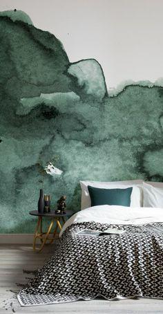 peinture acrylique mur, mur aquarelle dans la chambre à coucher