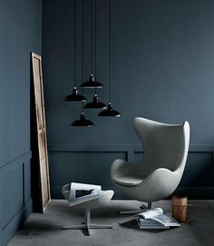 This #chair is a must have. The colour and the chair and the hanging lamps...