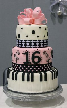 Piano Sweet 16 Cake. Would be pretty with turquoise instead of pink