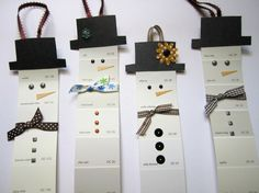 Snowman Christmas Tree Ornaments, Gift Tag, Upcycled Paint Chips, Set of 4. $5.00, via Etsy.