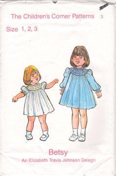 The Childrens Corner Patterns 3 1970s Designer Childs  Smocked Dress Pattern Vintage Sewing Pattern by mbchills