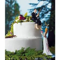 // We're Hooked Wedding Cake Toppers Set