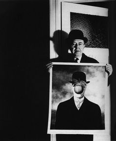 """by Bill Brandt René Magritte with his Picture """"The Great War"""", 1966"""
