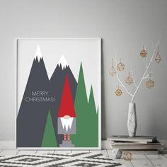 SCANDI Nordic Elf GNOME CHRISTMAS Art Print, Scandinavian Art Hygge Home  Home Posters Pictures, Christmas Decor
