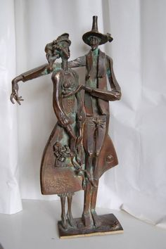 #Bronze #sculpture by #sculptor L�szl� Juhos titled: 'The Wedding (Fun Naughty Couple Small sculpture statue)'. #L�szl�Juhos