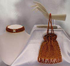Scherazade amber beaded knitted evening bag and choker