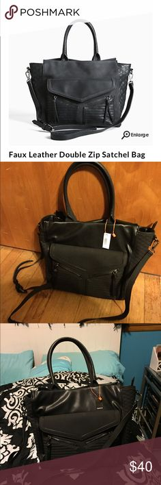 🎁Torrid Faux Leather Double-Zip Satchel Bag Brand new with tags. Beautiful double-zip bag, all features of the bag are in the fourth picture. Has a longer, adjustable strap as well as an elbow strap. torrid Bags Satchels