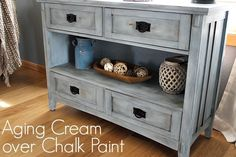 Aging Cream over Chalk Paint