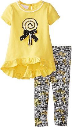 Yellow and black lollipop appliqued legging set. Baby Girl Vest, Baby Dress, Baby Baby, Baby Girls, Little Girl Outfits, Kids Outfits, Baby Boy Fashion, Kids Fashion, Capsule Outfits