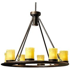 Kichler Oak Trail Outdoor Chandelier ($979) ❤ liked on Polyvore featuring home, outdoors, outdoor decor, beige, outdoor patio decor, ivory candles, outdoor candles, brass candle and outside candles