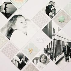 This would make a beautiful wedding page. Neutral colors and black and white pictures set in a diamond grid.
