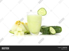Melon and cucumber drink, over a white background.