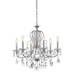 This elegant and sophisticated 6 light chandelier from the Jules collection will dress up any space. It features a soft transitional look with polished chrome and perfectly placed and highly reflective teardrop crystals.