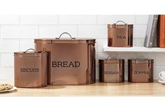 Stylish oval storage set with a copper coloured finish. Tea, coffee, sugar canisters - x 10 & x 4 x Copper Coloured Oval Storage Set. Bread bin - x 21 x & x Yellow Kitchen Accessories, Copper Accessories, Copper Canisters, Bronze Kitchen, Bread Bin, Coffee Canister, Canister Vacuum, Copper Accents, Storage Sets