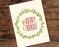 Merry & Bright Wreath Christmas Sign - Digital Download File - DIY Printing