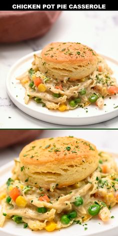 This chicken pot pie casserole is made of a creamy base loaded with vegetables and chicken, topped with buttery, flaky biscuits. It's an easy dinner recipe that even the pickiest eaters will love. dinner recipes with biscuits Chicken Pot Pie Casserole Healthy Chicken Pot Pie, Easy Chicken Recipes, Easy Dinner Recipes, Easy Meals, Casseroles With Chicken, Appetizer Recipes, Cooking Recipes, Healthy Recipes, Cooking Chef