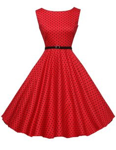 Cute Boatneck Sleeveless Vintage Tea Dress With Belt red