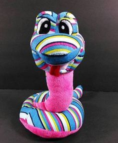 "COBRA SNAKE Plush Pink Blue Stripes National Ent Network 10"" Stuffed Toy B273"