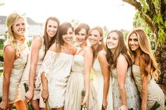 bridesmaids in short ivory dresses, photo by Katie Ruther http://ruffledblog.com/handcrafted-fall-wedding #bridesmaid #wedding
