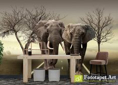 Fototapet decorativ cu animale - Elefanții| Fototapet.art Realizam la comandă fototapet personalizat pentru camera copiilor Latex, Elephant, Wallpaper, Art, Design, Art Background, Wall Papers, Kunst, Elephants