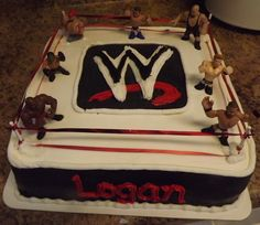 Wrestling Birthday Cake, whaaatt?? must be the one for me to make! lol