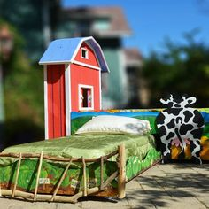 Custom hand painted Farm bed available from Abodeacious on CustomMade
